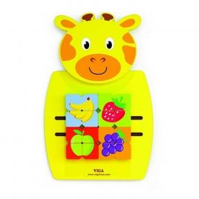Бізіборд Жирафа з фруктами Viga Toys 50680