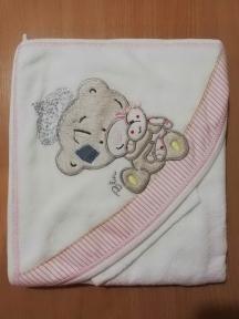 BABY LINE Рушник махровий після купання Ведмедик рожевий 9-455