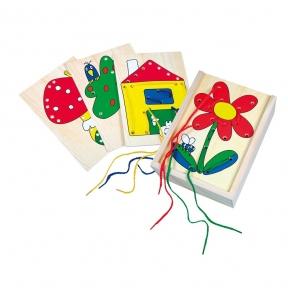 Шнурівка Дощечки з малюнками Bino 88049
