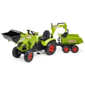 Трактор з причепом, переднім та заднім ковшами зелений Falk 1010W CLAAS AXOS